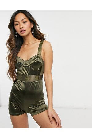 River Island Satin structured bodice playsuit in khaki
