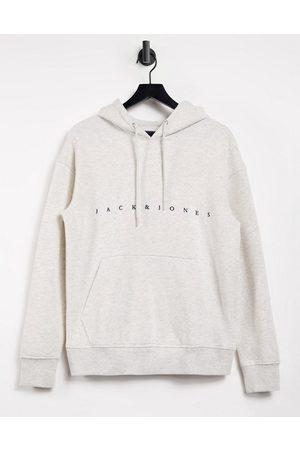 Jack & Jones Originals relaxed fit logo hoodie in off