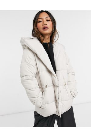 River Island Shawl collar longline padded coat in