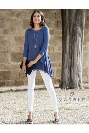 Marble TUNIC WITH LACE VEST NAVY