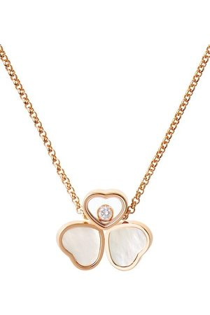 Chopard Happy Hearts 18K Rose , Diamond & Mother-Of-Pearl 3-Heart Pendant Necklace