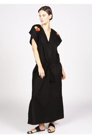 MARAINA LONDON MARGAUX drawstring Kaftan dress with with handmade embroidery