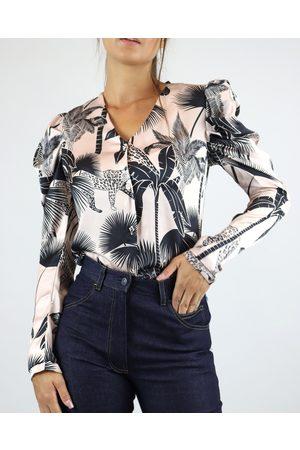 LoboRosa Women Blouses - Pale Pink Palm Print Button Blouse