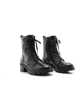 Schutz Women Lace-up Boots - Snake Lace-Up Ankle Boots