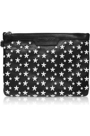 Jimmy Choo MEN'S DEREKSENLBLACKWHITE LEATHER POUCH
