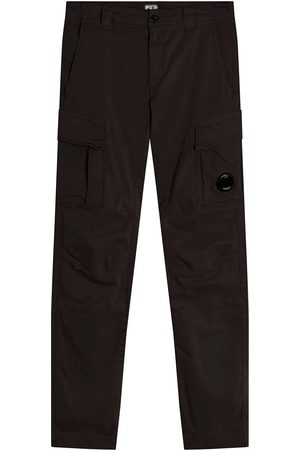 CP Company C.P. Company Garment Dyed Stretch Sateen Fitted Lens Pocket Cargo Pants Total Eclipse