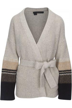 360CASHMERE Women Cardigans - Esme Tie Stripe Cardigan Colour: Hazel/Black/Aqua