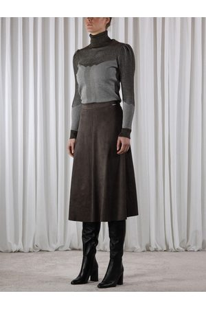 Rino and Pelle Rino & Pelle RANOMI Faux Suede Circle Skirt Dark Olive