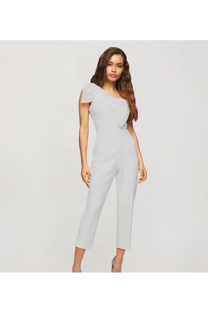 Miss Selfridge Jumpsuit with organza bow in ivory