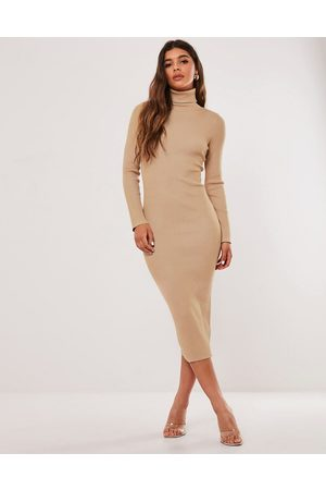 Missguided Roll neck midi dress in