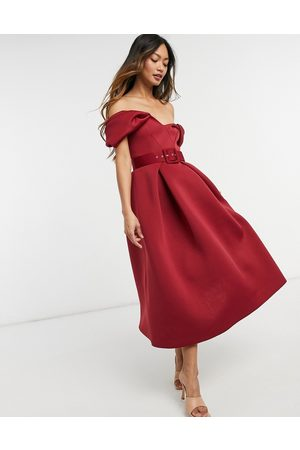 ASOS Bow belted prom midi dress in wine