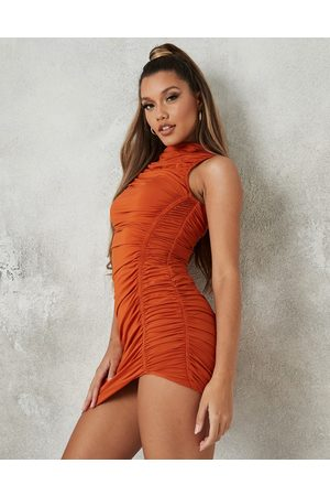 Missguided Slinky dress with high neck in rust