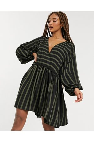 ASOS Casual oversized mini smock dress in khaki black stripe-Multi