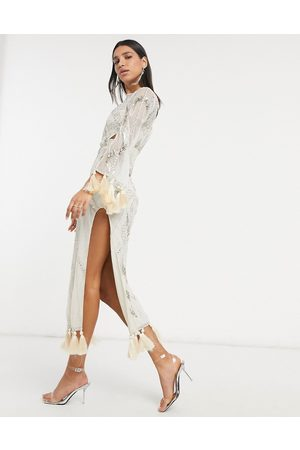ASOS Embellished maxi dress with cut out and tassle detail