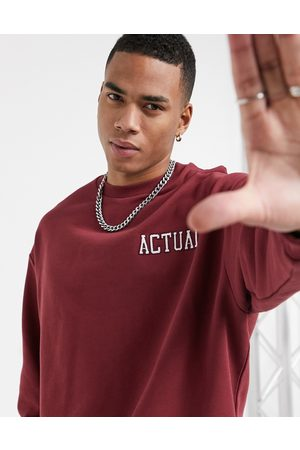 ASOS Actual Oversized sweatshirt in burgundy with embroidered logos