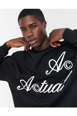 ASOS Actual Oversized long sleeve t-shirt in with logo