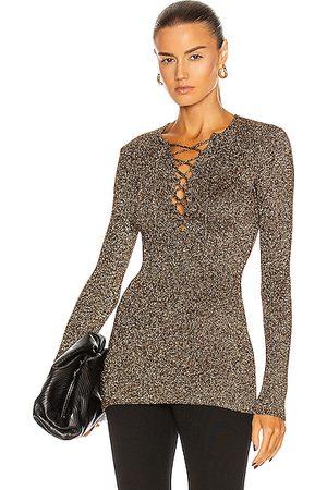 Ganni Glitter Knit Sweater in Metallic Bronze