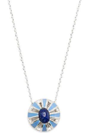 AKANSHA SETHI Turquoise Enamel and Lapis Button necklace