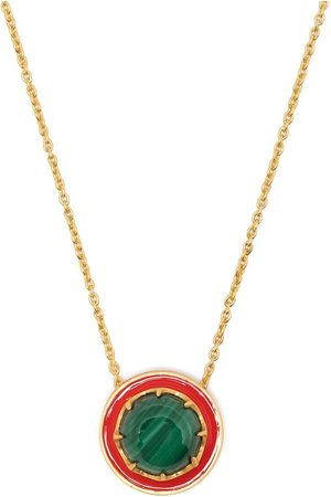 AKANSHA SETHI Malachite red enamel button necklace