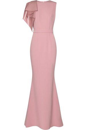 Safiyaa Wool-blend crêpe gown