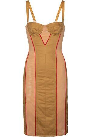 Burberry Mesh-trimmed corset dress