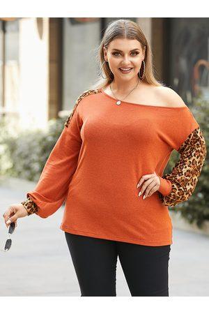 YOINS Plus Size One Shoulder Leopard Long Sleeves Sweater