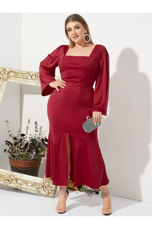 YOINS Plus Size Square Neck Backless Design Long Sleeves Maxi Dress