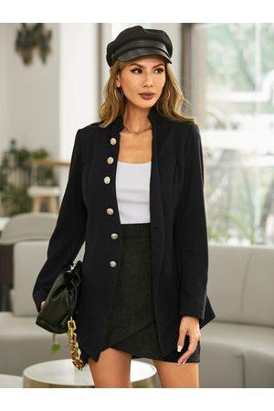 YOINS Elegant Button Design Long Sleeves Woolen Coat