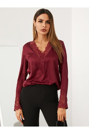 YOINS Satin Lace Patchwork V-neck Long Sleeves Blouse