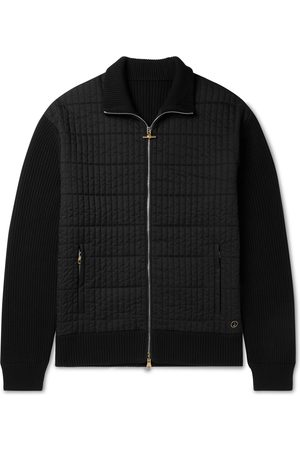 Dunhill Men Bomber Jackets - Ribbed Wool and Quilted Shell Jacket