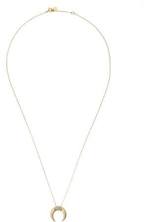 Feidt Paris 9kt yellow Corne Lune sapphire crescent moon pendant necklace