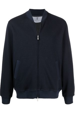 Brunello Cucinelli Ribbed collar zip up sweater