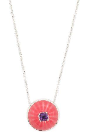AKANSHA SETHI Amethyst pink enamel button necklace