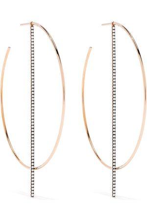 Diane Kordas 18kt rose gold diamond bar hoop earrings
