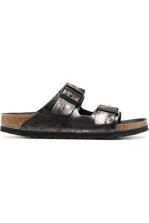 Birkenstock Arizona metallic-effect sandals