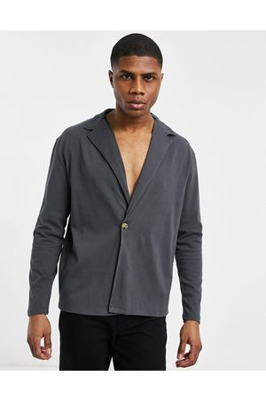 ASOS Heavyweight long sleeve wrap jersey shirt in washed black