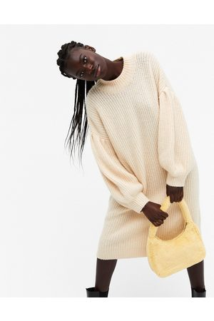 Monki Women Knitted Dresses - Tina puff sleeve knitted midi dress in