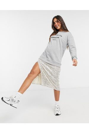 River Island Midi sweat dress with sequin underskirt in