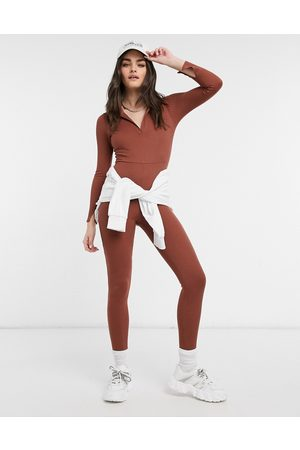ASOS Split sleeve v collar unitard in melange