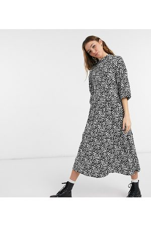 Wednesday's Girl Midi dress with tiered skirt in monochrome animal print