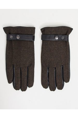 ASOS Men Gloves - Touchscreen leather driving gloves in with herringbone detail