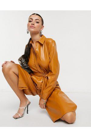 ASOS Women Culottes - PU shirt culotte jumpsuit in camel-Cream