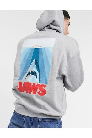ASOS Oversized hoodie in marl with Jaws back print