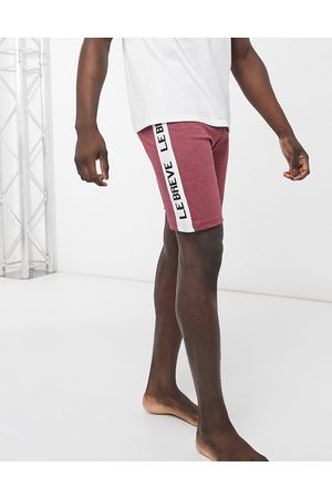Le Breve Mix and match lounge shorts in burgundy marl