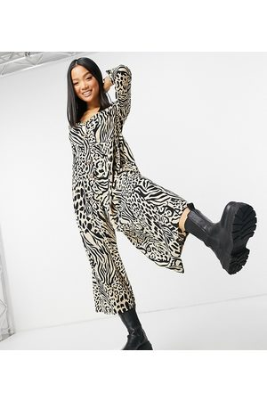 ASOS Women Jumpsuits - ASOS DESIGN petite button front relaxed jumpsuit in animal print