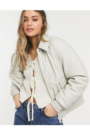 ASOS Women Leather Jackets - Leather look padded bomber jacket in putty