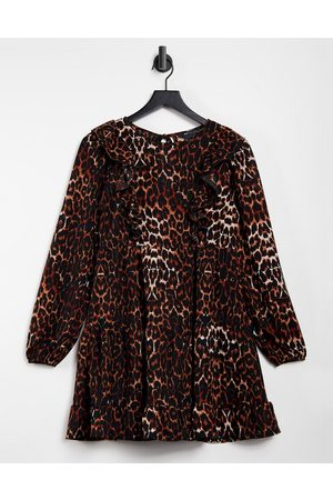 ASOS Frill front long sleeve mini smock dress in leopard print