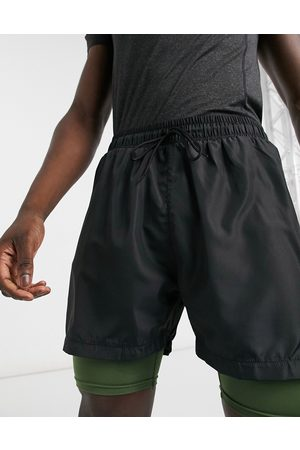 South Beach Double layered performance shorts with inner pocket in black & khaki