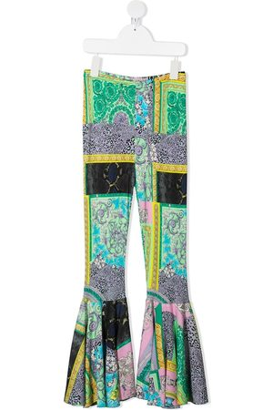 VERSACE Barocco-print flared trousers