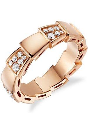 Bvlgari Rings - Serpenti Viper 18K Rose & Pavè Diamond Ring